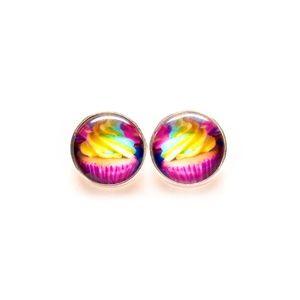 Rainbow Cupcake Earrings - Foods, Sweets